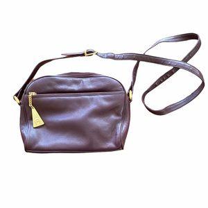 Etienne Aigner Maroon Leather Crossbody Bag